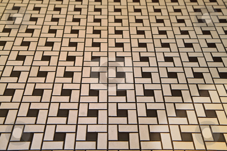 Deco Style Tile Floor stock photo, Section of some black and white deco tile flooring by bobkeenan