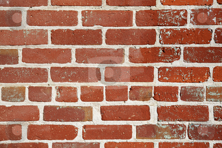 Old red brick wall close stock photo, Different shades of color and a changing pattern red brick wall by bobkeenan