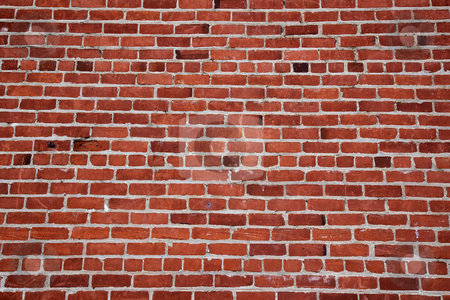 Old red brick wall far stock photo, Different shades of ready and a changing pattern red brick wall by bobkeenan