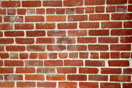Old red brick wall med close stock photo, Different shades of ready and a changing pattern red brick wall by bobkeenan