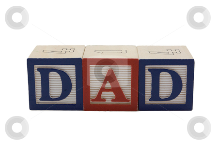 Wood Blocks Dad stock photo, Vintage Colored wooden play block spelling Dad by bobkeenan