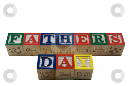Wood Blocks Fathers day stock photo, Vintage Colored wooden play block spelling Fathers Day by bobkeenan