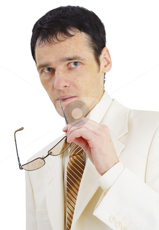 Portrait of pensive businessman stock photo, Portrait of a pensive businessman on white background by Alexey Romanov