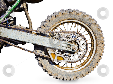 Rear wheel motorcycle for trial covered with mud stock photo, Rear wheel motorcycle for trial covered with mud isolated on white background by Alexey Romanov