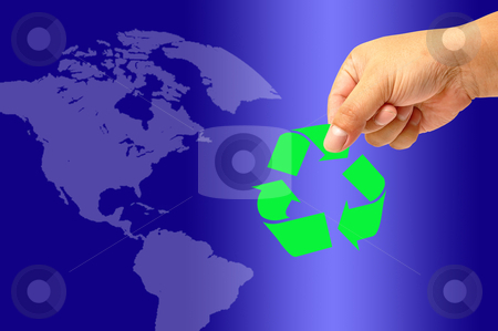 Recycling symbol stock photo, Recycling symbol on hand by phanlop88