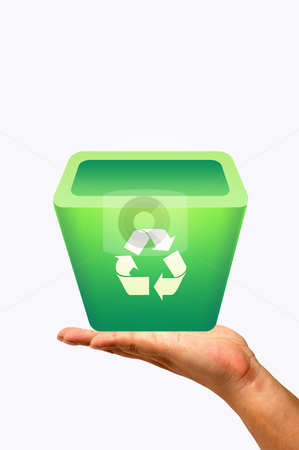 Recycle bin on hand stock photo, Recycle bin on hand by phanlop88