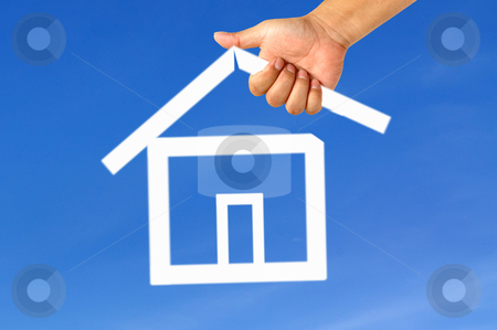 Hand and icon house stock photo, Hand and icon house by phanlop88