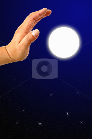 Hands on sky moon  stock photo, Hands on sky moon  by phanlop88