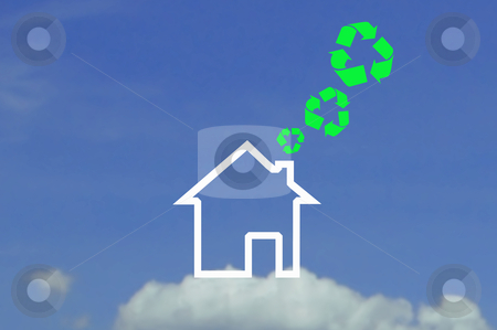 Recycling symbol and icon house stock photo, Recycling symbol and icon house by phanlop88