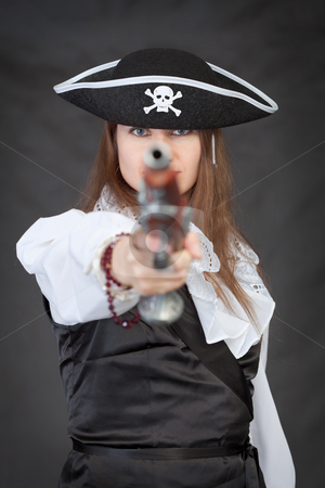 Pirate woman with old pistol stock photo, Pirate woman with old pistol on black background by Alexey Romanov