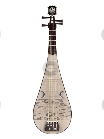 Pipa stock photo, Pipa or Chinese guitar  isolated on white background by Nmorozova