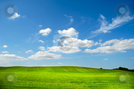 Landscape stock photo, Landscape with green field and blue and cloudy sky. by Lars Christensen