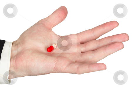 Hand with red pill, white background stock photo, Man's hand with the red pill, white background by Alexey Romanov