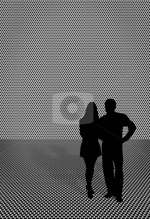 Silhouette of couple - man and woman stock photo, Silhouette of couple - the man and the woman - a monochrome illustration by Alexey Romanov