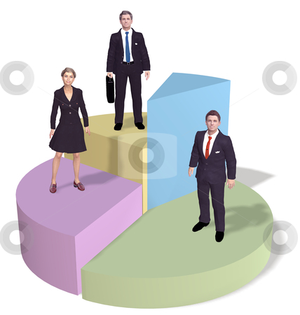 Business people stand on success pie chart stock photo, A team of three business people silhouettes stand on top of success pie chart pieces. by Michael Brown