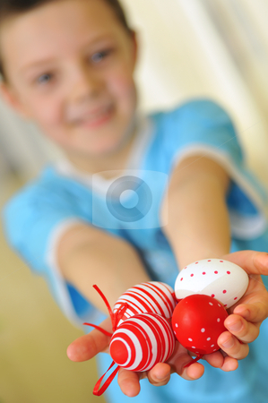 Easter kid with colorful eggs stock photo, easter kid with colorful eggs by jordachelr
