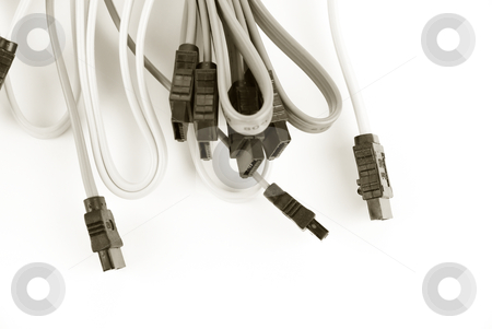 Cable  stock photo, Cable on white background. Sepia by olinchuk
