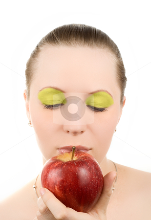Woman with apple stock photo, Portrait of young woman with apple, isolated on white by olinchuk