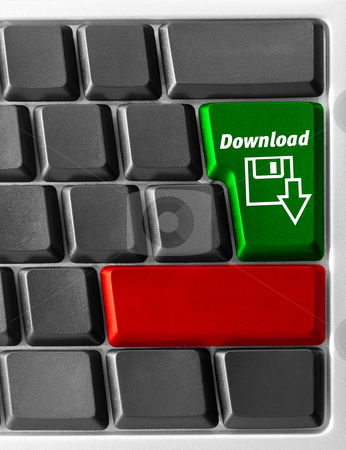 "Computer keyboard with ""Download"" key stock photo, Close-up of Computer keyboard with ""Download"" key by olinchuk"
