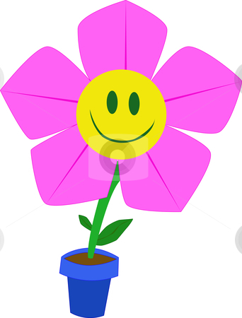 Pink smile flower stock photo, Pink smile flower in blue pot by Pandora1990