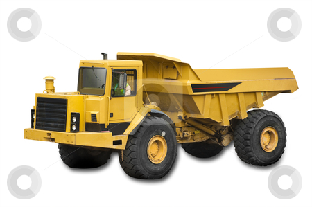 Big yellow truck, isolated stock photo, Big yellow truck on the white background, isolated with clipping path  by Christian Delbert