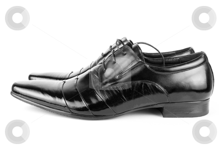 Shoes  stock photo, Black men shoes detail on isolated white background by olinchuk