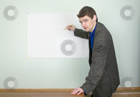 Teacher showing on the poster stock photo, Teacher telling about something and showing on the poster by Alexey Romanov