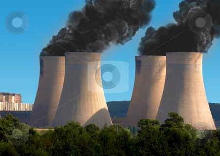 Pollution From Industry stock photo, Black smoke pollution from industrial chimneys by stuartmiles