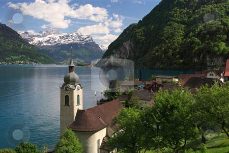 Lake Lucerne from Bauen stock photo, Looking over the church in Bauen onto Lake Lucerne in Switzerland.  by © Ron Sumners