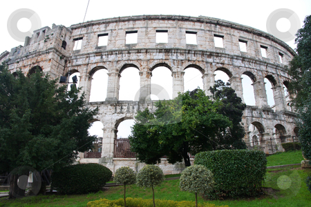 Pula stock photo, details of roman amphitheater (Colosseum) in Pula by vladacanon1