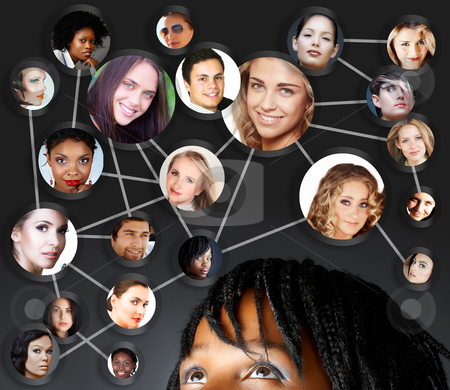 African woman social networking stock photo, African young woman with her social network friends and business partners in a diagram by lubavnel