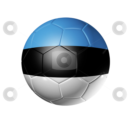 Soccer football ball with Estonia flag stock photo, 3D soccer ball with Estonia team flag. isolated on white with clipping path by Laurent Davoust
