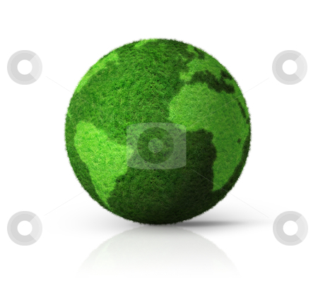 3D green grass globe stock photo, grass earth globe isolated on white - 3D ecology symbol by Laurent Davoust