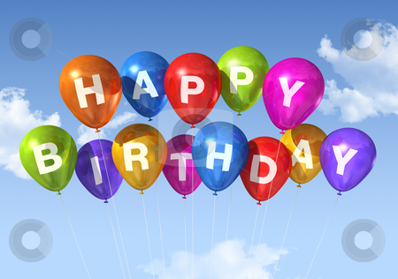 Happy Birthday balloons in the sky stock photo, colored Happy Birthday balloons in the sky by Laurent Davoust