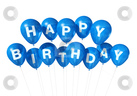 Blue Happy Birthday balloons stock photo, 3D blue Happy Birthday balloons isolated on white background by Laurent Davoust