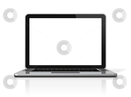 Laptop computer isolated on white stock photo, 3D blank laptop computer isolated on white with 2 clipping path : one for global scene and one for the screen by Laurent Davoust