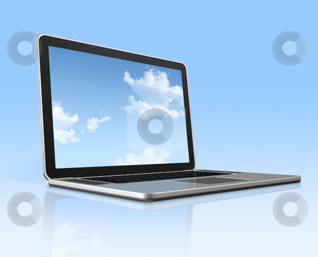 Laptop computer with sky screen isolated on blue stock photo, 3D laptop computer with sky in screen isolated on blue with 2 clipping path : one for global scene and one for the screen by Laurent Davoust