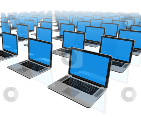Laptop computers isolated on white stock photo, 3D laptop computers isolated on white by Laurent Davoust