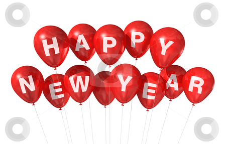 Happy new year balloons stock photo, red Happy new year balloons isolated on white by Laurent Davoust