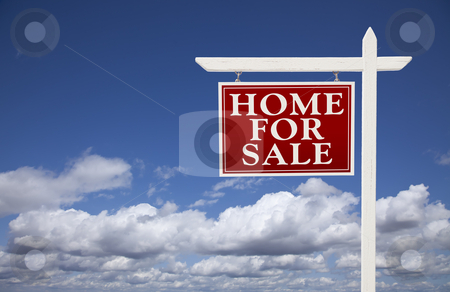 Red Home For Sale Real Estate Sign Over Clouds and Sky stock photo, Red Home for Sale Real Estate Sign Over Beautiful Clouds and Blue Sky. by Andy Dean
