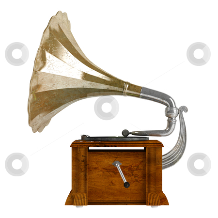 Gramophone stock photo, Gramophone or phonograph isolated on white background by Nmorozova