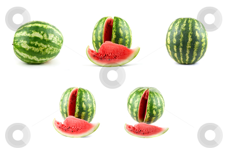 Watermelon set stock photo, Watermelon set isolated on white background by olinchuk