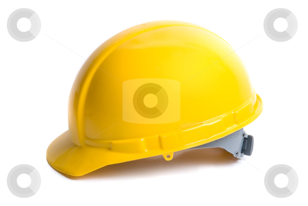 Yellow helmet  stock photo, Yellow helmet isolated on white background by olinchuk