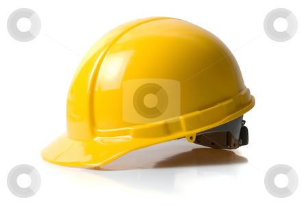 Helmet  stock photo, Yellow helmet isolated on white background by olinchuk