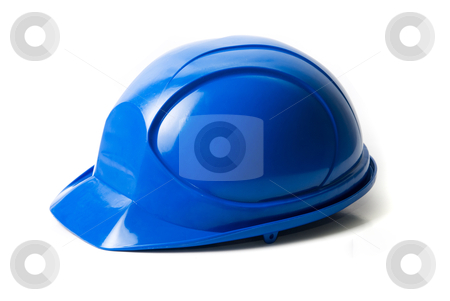 Blue helmet stock photo, Blue helmet isolated on white background by olinchuk