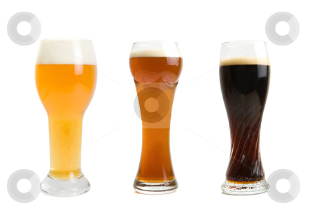 Beer set stock photo, Set of different Beer Glasses  isolated on a white background by olinchuk