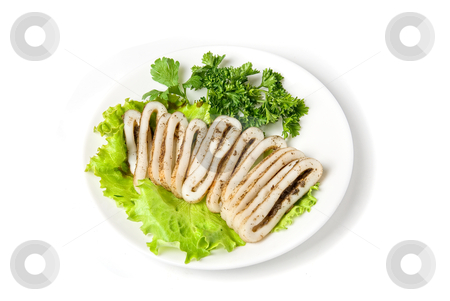 Sliced squid stock photo, sliced squid and green vegetables dish isolated on white by olinchuk