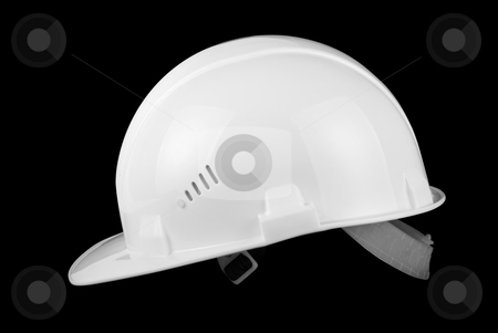 White helmet stock photo, White helmet isolated on a black background by olinchuk
