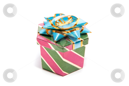One gift box stock photo, one gift box isolated on a white background  by olinchuk