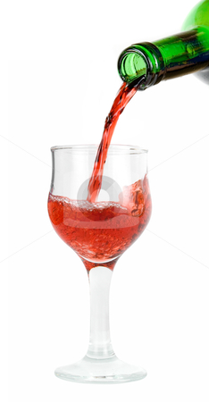 Pour red wine  stock photo, pour red wine into glass isolated on white by olinchuk